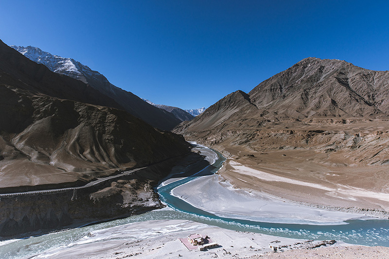 The confluence of two rivers - Indus and Zanskar