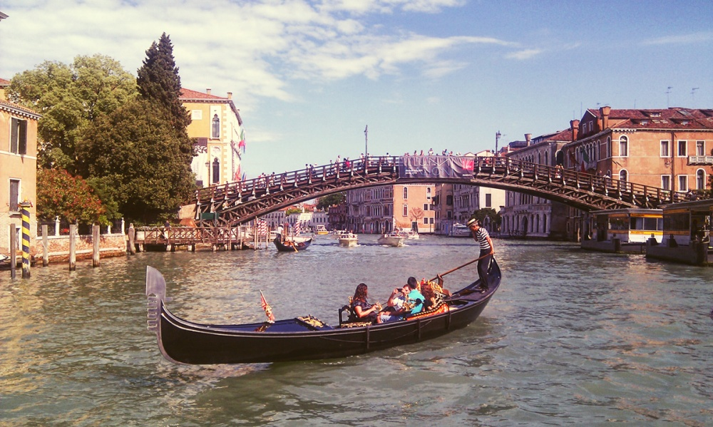 Gondola on a waterway in Venice Italy